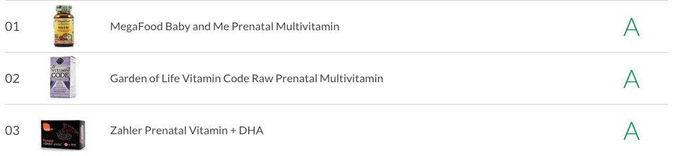 top 3 highest quality prenatal vitamins