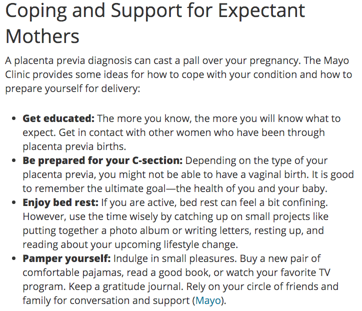 coping with placenta previa